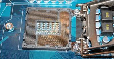 Gigabyte GA-IBP - closeup of LGA1156 socket