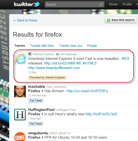 """Did microsoft use the """"firefox' keyword on twitter to promote ie9? - onmsft. Com - march 22, 2011"""