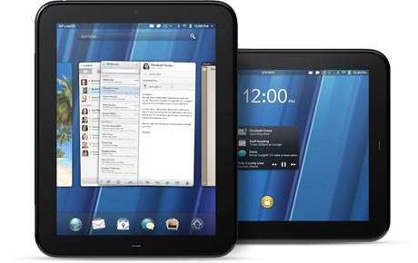 hp touchpad tablet. in the HP TouchPad running