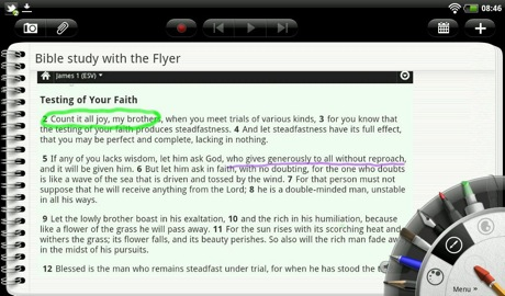 HTC Flyer screenshot of Bible app with ink, via Mobile Gadgeteer