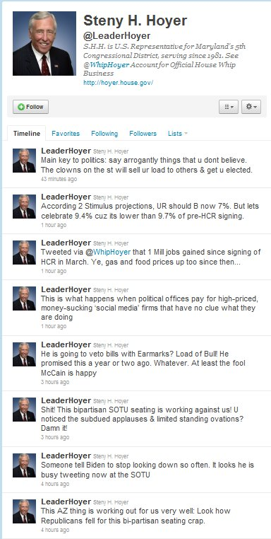 The twitter account @leaderhoyer on 1/26/11.