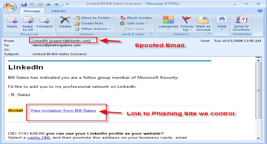 ... impersonating LinkedIn by mailing invitations coming from Bill Gates, ...