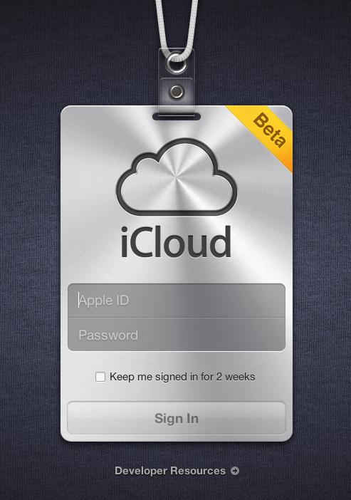 Apple iCloud login screen