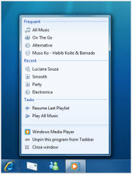Windows 7 Windows Media Player Jumplist