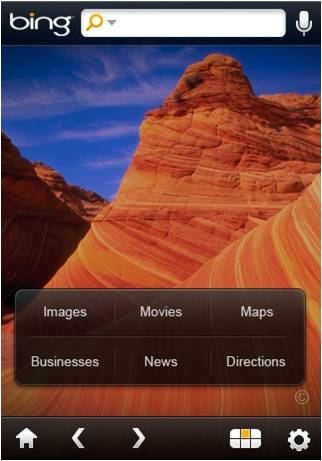 Bing on the iPhone.